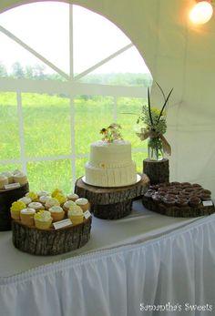 Rustic Wedding Cake and Cupcake Display by www.samantha-sweets.com #rustic wedding