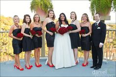 Black bridesmaid dresses with accented wedding colors