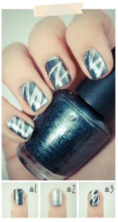 Use Scotch Tape to form the perfect zig zag nail art. #manicure