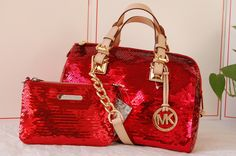 Michael Kors Red Sequin Tote & Wristlet~~~ I want this!!!