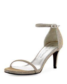STUART WEITZMAN Naked Shimmery Low-Heel Sandal, Silver. #stuartweitzman #shoes #sandals