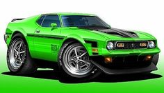 Cartoon Ford Mach 1 Muscle Car