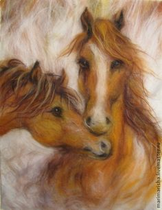 Wool Watercolours By Marina Akserova An artist from St. Petersburg, Marina Askerova, has been into painting and sculpting her entire adult life and even teaches children these subjects at an art Felted Wool Crafts, Felt Crafts, Needle Felted Animals, Felt Animals, Felt Pictures, Needle Felting Tutorials, Donia, Felt Decorations, Needle Felting