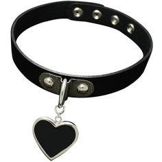 K-Craft Adult Collar Punk Goth Emo Genuine Leather Choker Necklace... (53 BRL) ❤ liked on Polyvore featuring jewelry, necklaces, chokers, accessories, black, gothic choker necklace, heart choker, leather collar necklace, heart shaped necklace and heart necklaces