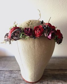 Rustic floral crown holiday headpiece burgundy by gardensofwhimsy