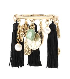 Oscar de la Renta - Tassel Charm bracelet - The gold-tone bangle is decorated with dangling black tassels, green stones and faux pearls for an extravagant impression. - @ www.mytheresa.com