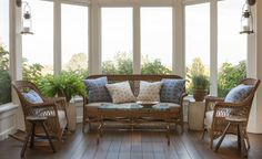 Sunroom in a beach house with enclosed porch and antique wicker furniture Family Room Living Outdoor Room Solarium Coastal TraditionalNeoclassical Transitional by Liliane Hart Interiors Wicker Furniture, Living Furniture, Outdoor Furniture Sets, Furniture Design, Outdoor Rooms, Outdoor Living, Estilo Cottage, Old Wood Floors, Enclosed Porches