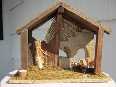 Wooden Nativity Stable Manger Structure Birth by TwinAntiques, $13.00