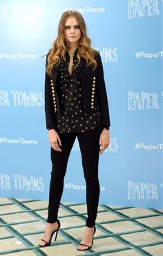 All of Cara Delevingne's 'Paper Towns' Outfits Are INSANELY Good // Saint Laurent separates from the spring 2015 collection, including a star print button down shirt + cropped blazer