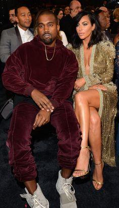 Kanye West in a velour sweatsedo at the Grammys with Kim Kardashian.