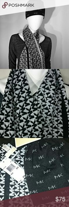 "Michael Kors Beanie and Scarf Set Winter Accessory New with tags Michael Kors Beanie and Scarf Set. Black and grey with Mk logos, reversible, one size fits all, scarf measures 10"" wide and 60"" long. Michael Kors Accessories Hats"