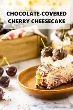 Your search for the best cherry cheesecake is over. This chocolate covered cherry cheesecake is bursting with cherry flavor in each bite, and with the Oreo crust and chunks of chocolate, this fancy cheesecake is also perfectly chocolatey. #chocolatecoveredcherrycheesecake #bestcherrycheesecake #cherrycheesecake No Dairy Recipes, Tart Recipes, Baking Recipes, Healthy Recipes, Summer Dessert Recipes, Easy Desserts, Delicious Desserts, Best Cheesecake, Cheesecake Desserts