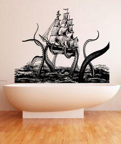 Vinyl Wall Decal Sticker Octopus Attack #5345