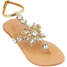 Amazon.com: 'Hisingen' Crystal-Embellished Metallic Leather Sandals... ($219) ❤ liked on Polyvore featuring shoes, sandals, wide width flats, leather sandals, gold flat shoes, clear sandals and wide sandals