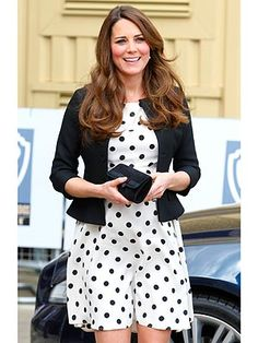 Duchess in a TopShop frock.  Adore polka dots in any way shape or form but I love her blazer and thus pinned the look.  Want it