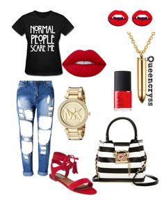 """""""We just left the movies, and he wanna hit G5."""" by queencryss on Polyvore featuring Steve Madden, Lime Crime, Betsey Johnson, Chicnova Fashion, Michael Kors and NARS Cosmetics"""