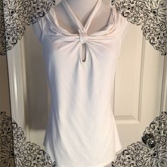 Cache Top White sleeveless halter Cache top in great condition! Size Large. 92% Rayon 8% Spandex Cache Tops