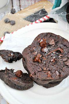 Hershey's Special Dark Triple Chocolate Pudding Cookies   www.somethingswanky.com