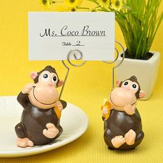 Hand Painted Ceramic Monkey Place Card Photo Holders