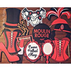 COME WHAT MAY - LOVE THIS Spectacular Moulin Rouge themed photo booth props that will add a lot of hotness to our upcoming dessert table setup! Burlesque Party Decorations, Burlesque Theme Party, Birthday Party Decorations, Burlesque Outfit, Table Decorations, Burlesque Bachelorette Party, Bachelorette Desserts, Bachelorette Party Themes, Adult Party Themes