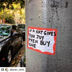 Go ahead. Make my day. #Repost @steven_rank  Does anyone still wear a hat?  . . . . .  #hello #citystreets #chelsea #nyc #handlettering #artiseverywhere #streetart #art #style #design #hat #foundart #stickers #newyork #gotham #potd #latergram #iphonesia #typography #city #citylife #peace #style #follow #me #instagood #instadaily #photography