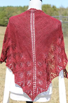Hand knit shawl with hand dyed wool yarn triangle by FARMSPUN