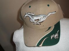 Mustang Ballcap Tan/Green w/White Trim, new w/tags