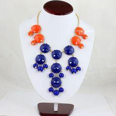 Bubble Bib Necklace Orange And Royal by EllenJewelry