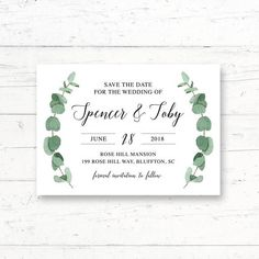 Eucalyptus Printable Save the Date Card Wedding Announcement by CrissyDesignCo