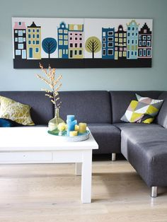 Living room: gray sectional, aqua wall and white table. plus a nice city art on the wall. Decor, Ideal Home, Home Living Room, Interior, Furniture Decor, Home Decor, Home Deco, Living Room And Dining Room Decor, Home And Living