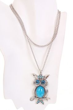 Teal Silver Smooth Polished Beaded Perched Owl Long Chain Necklace