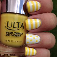 Cheerful Yellow & White Nails