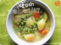 Billas wunderschön fotografiere vegane Welt am Vegan Wednesday vor Ostern: Kartoffelsuppe mit Karotten, Erbsen & Kokosmilch