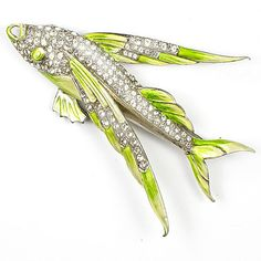 MB Boucher Pave and Metallic Enamel Flying Fish Pin | eBay