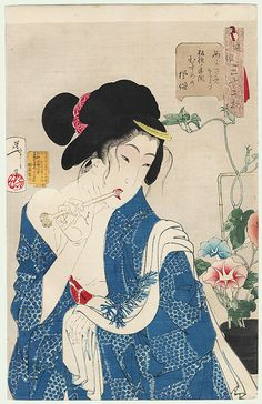Waking up: the appearance of a girl of the Koka era, No. 15  by Yoshitoshi (1839 - 1892)