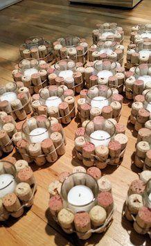 Clear with White Wine Cork Holder Votive/Candle off retail Wine Cork Votive Holder Off Wine Craft, Wine Cork Crafts, Wine Bottle Crafts, Diy Bottle, Crafts With Corks, Wine Cork Holder, Wine Cork Art, Votive Holder, Wine Cork Projects