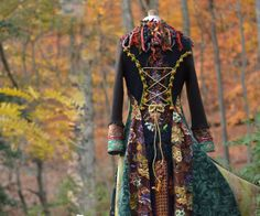 Earthy tones long fantasy art to wear sweater COAT/ Eco friendly up cycled refashioned clothing in size Small/Medium. Ready to ship