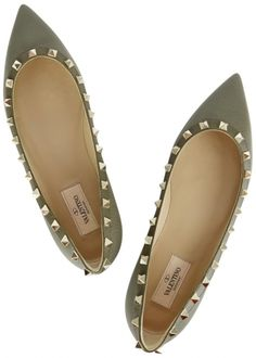 Rockstud olive leather pointed flats - Ballet Flats - Flats - All Shoes - Women