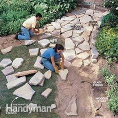 to build a stone path - garden - . - How to build a stone path – garden – -How to build a stone path - garden - . - How to build a stone path – garden – - Stone Garden Paths, Garden Stones, Stone Paths, Stone Walkways, Flagstone Path, Patio Stone, Limestone Patio, Cobblestone Walkway, Gravel Pathway