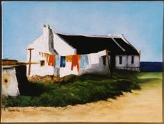 Oil on canvas by E. Fishermans Cottage, Artistic Tile, South African Artists, Fruit Painting, Ap Art, Landscape Paintings, Art Paintings, Drawing Techniques, Beach Cottages