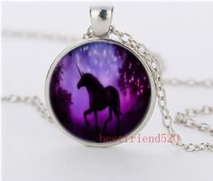 Romantic unicorns Cabochon Glass silver necklace for women men Jewelry#998 #Handmade #glass