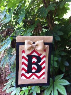 Monogrammed Chevron Burlap Garden Flag Ribbon Trim by aDOORnaments, $20.00