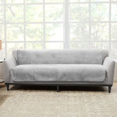 Sure Fit Luxe Maze Sofa Protector In Grey - With a comfortably soft top and non-slip underside, the Sure Fit Luxe Maze Sofa Protector wards off spills, stains, dirt, pet hair and claw snags. The armless design with generous back drop fits any size sofa. Tire Furniture, Furniture Slipcovers, Furniture Covers, Upholstered Furniture, Furniture Sale, Home Decor Furniture, Loveseat Covers, Recliner Cover, Cushion Covers