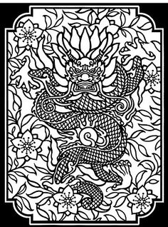 Dover Coloring Books Chinese Zodiac | Chinese Designs Stained Glass Coloring Book 2 | This is a fr ...
