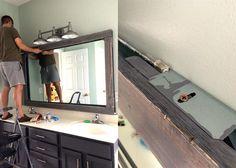 attach wood frame to mirror