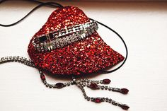 red sequin heart purse