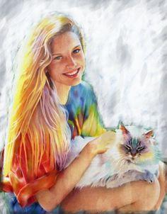 Children Oil painting,custom oil portrait painting,family portrait,wedding portrait,pet portrait,custom your own oil portrait in any size   In this oil painting I captured the light on the girl...