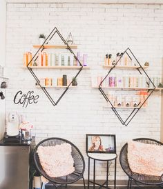 lash room decor small spaces Todays Suite Idea: Geometrical shapes add character to your brick wall. It also serves as a space-saving shelf.
