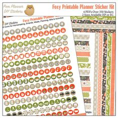 Foxy Printable Planner Stickers Kit 4 PDFs EC by DigiScrapDelights