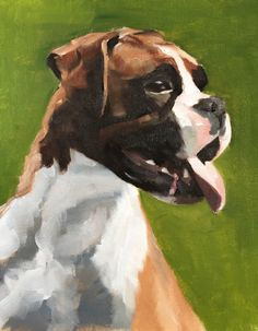 Boxer Dog Art PRINT Boxer Dog painting dog wall art boxer dog art dog painting boxer dog wall decor gift Original Oil Painting or Print I Love Dogs, Cute Dogs, Funny Dogs, Dog Tumblr, Boxer Puppies, Animal Paintings, Acrylic Paintings, Dog Tattoos, Dog Photography